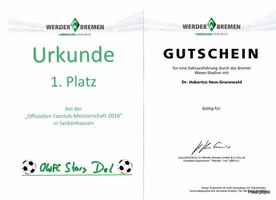 Urkunde 1. Platz Fanclubmeisterschaft 2016 und Gutschein für die Stadionführung