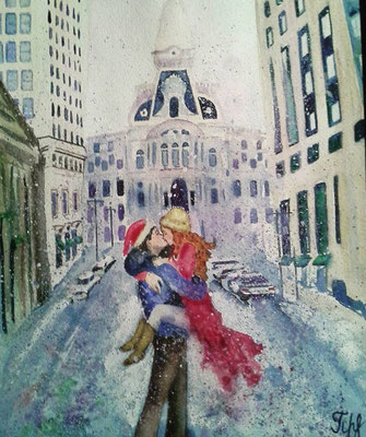 "Philadelphia City Hall. Romance. Mixed media on paper.  11"" x 15"". December 2015."