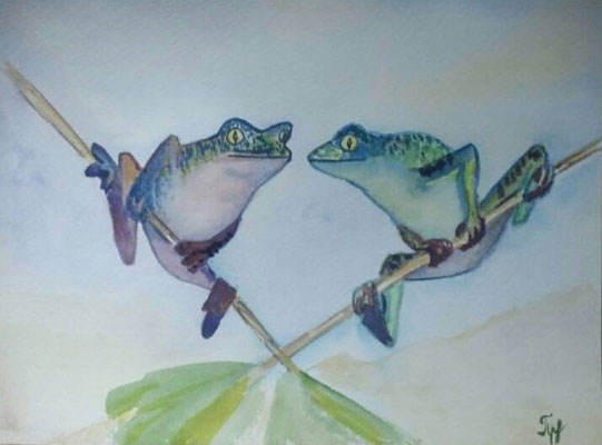 "Frogs. Two frogs are sitting on a log. One decides to jump. How many are left?  Two. The frog made a decision but took no action. Watercolors on paper, 9"" x 12"". March 2015"