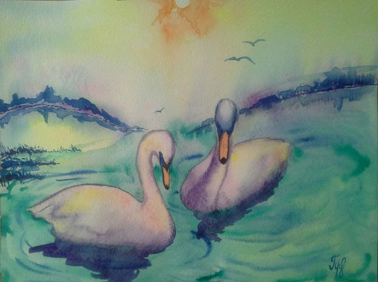 """Being born in a duck yard does not matter, if only you are hatched from a swan's egg."" Hans Christian Andersen. Watercolors on paper, 9"" x 12"". June 2015"