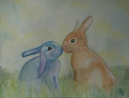 "Easter bunnies. Watercolors on paper, 9"" x 12"". April 2015"