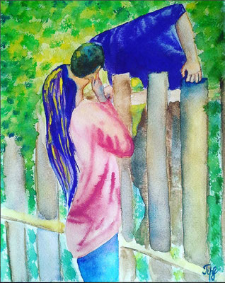 "rue love knows no (fences) limits even though it pushes many. Watercolor on paper. 9"" x 12"". January 2016.."