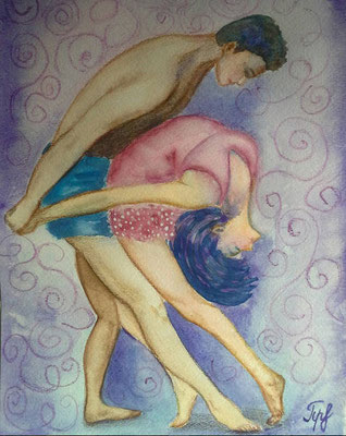 "Love is... being flexible. Watercolor on paper. 9"" x 12"". June 2016."