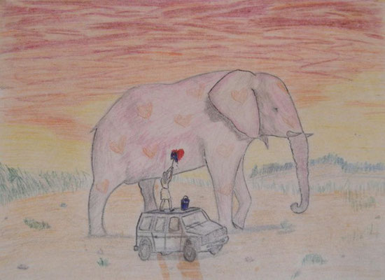 Wash the elephant. Colored pencils. 2003ish