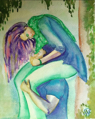 "Love is... lighter than air. Watercolor on paper. 9"" x 12"". June 2016."
