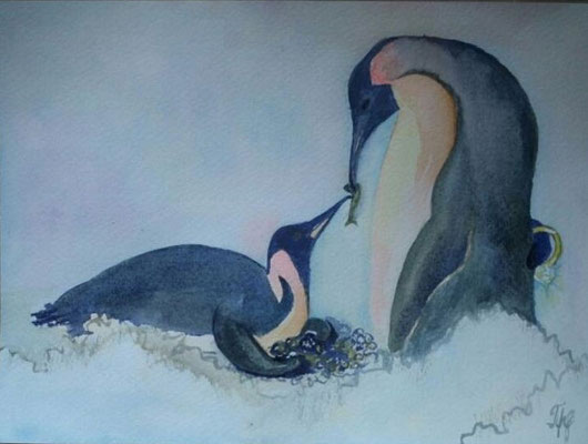 "Penguins. Never ignore someone that cares for you. Because someday you'll realize you've lost a diamond while you were busy collecting stones. Watercolors on paper, 9"" x 12"". March 2015"