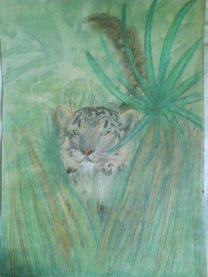 Tiger. Gouache, pastel and crayons. 2000ish