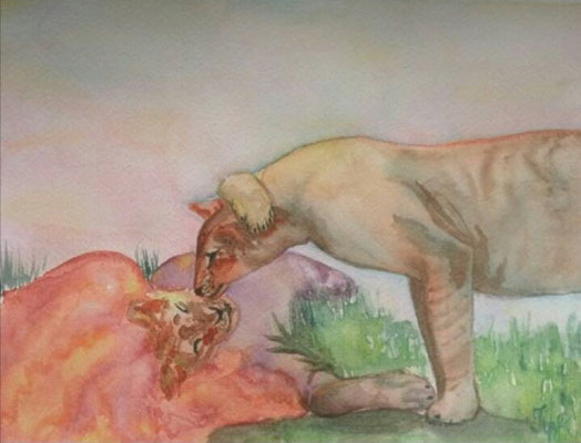 "Lion & Lioness. There is only one animal a lion is afraid of. A lioness. Watercolors on paper, 9"" x 12"". April 2015"