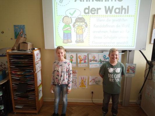 Unsere stolzen Klassensprecher Marit und Henry.