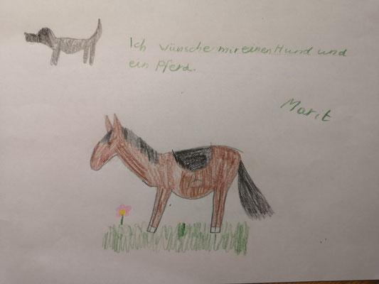 Marit wünscht sich ein Pferd und einen Hund.