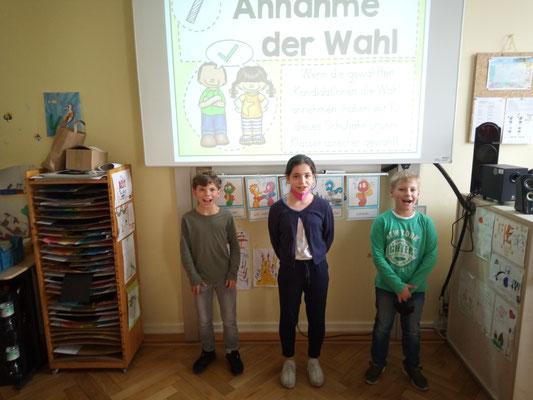 Matti, Mariam und Ben ergänzen als Stellvertreter das Klassensprecherteam.
