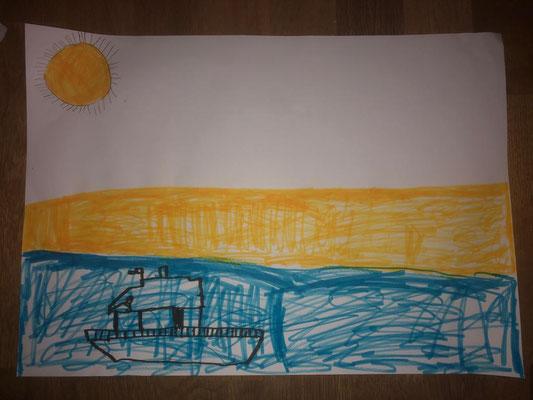 Moritz malt Sonne, Strand und das weite Meer...
