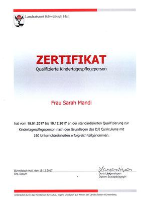 Zertifikat zur Kindertagespflege