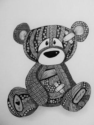 """Januar 2015 - """"Teddy"""" - 21cm*21cm - Maldauer: 2 Stunden"""
