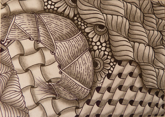 "August/September 2015 - ""Zentangle Postkarten Nr. 3"" - 15cm*10,5 cm - Maldauer: 7,30 Stunden"
