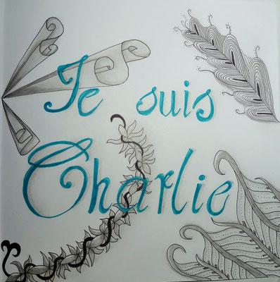 "Januar 2015 - ""Je suis Charlie"" - 21cm*21cm - Maldauer: 3,10 Stunden"