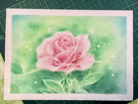 やなせりえ オリジナルパステルアート 薔薇