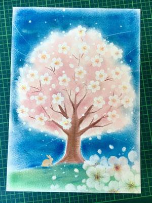 やなせりえ オリジナルパステルアート 夜桜