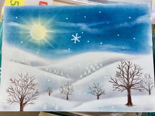 やなせりえ オリジナルパステルアート 雪景色
