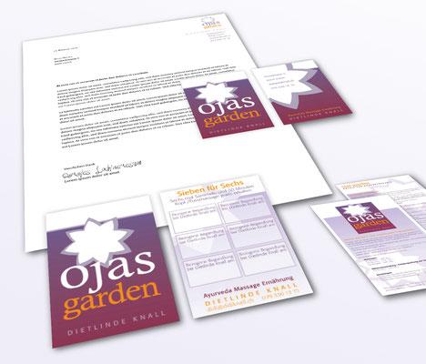 Anja Piffaretti, creative-island.ch, Ojas Garden, Visitenkartendesign, Design Logo, Flyergestaltung