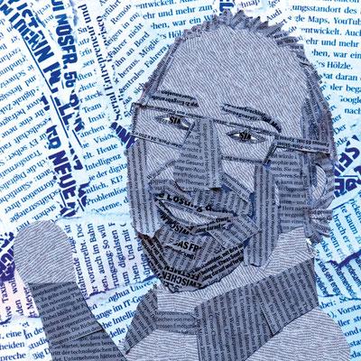 Illustration von Anja Piffaretti, creative-island.ch: illustriertes Portrait, Textschnipsel, Journalist, Portraitdesign