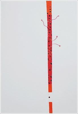 """Fragment - Collage, Braille-Schrift = """" Blutbild """". 2020 - Farbstift, Blutstropfen auf Papier, 21 cm x 29,7 cm,  """" Das Leben lesen - Für immer jung? - Placebo und Nocebo """""""