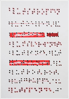"""Braille-Schrift = """" Blutstropfen, Blutzellen, Blutbild, Blutsverwandte, Blutlinie, Blutkunst, Blutrot, Blutgruppe, Blutspende """". 2017-2019 - Farbstift, Blutstropfen auf Papier, 21 cm x 29,7 cm, """" Das Leben lesen - Für immer jung? - Placebo und Nocebo """""""