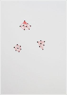 """"""" Blutkristalle """". 2020 - Farbstift, Blutstropfen auf Papier, 21 cm x 29,7 cm, """" Das Leben lesen - Für immer jung? - Placebo und Nocebo """""""