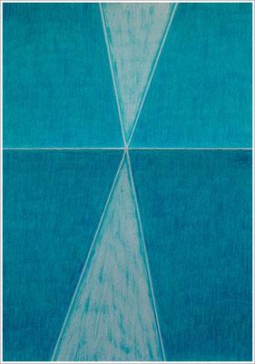 """21 cm x 29,7 cm - Kobaltgrün - Farbstift auf Papier - 2017  - ( """" DNA - Farben-Chakren """" )"""