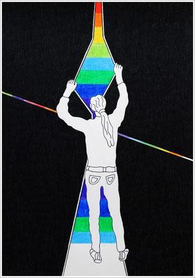 21 cm x 29,7 cm - DNA - Farben-Chakren - Farbstift auf Papier - 2017/18
