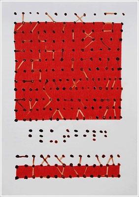 """Braille-Schrift = """" Blutbild """". 2017 - 2020 - Farbstift, Blutstropfen auf Papier,  21 cm x 29,7 cm, """" Das Leben lesen - Für immer jung? - Placebo und Nocebo """""""