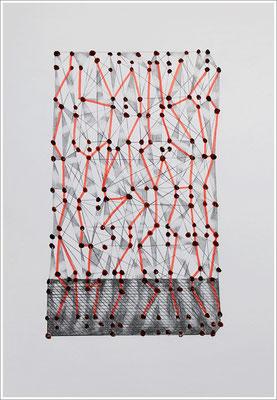 """Braille-Schrift = """" Künstliches Blut - dauerhaft, Kunst im Blut - unverwüstlich - Blut in der Kunst """". 2019-2020, Bleistift, Pigmenttusche-Stift, Blutstropfen auf Papier, 21 cm x 29,7 cm, """" Das Leben lesen - Für immer jung? - Placebo und Nocebo """""""