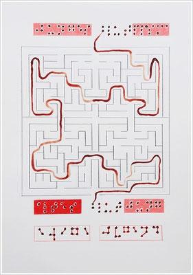 """Braille-Schrift = """" Junges Blutplasma - Altes Blut - Jung - Ewige Jugend """". 2019-2020 - Farbstift, Bleistift, Blutstropfen auf Papier, 21 cm x 29,7 cm, """" Das Leben lesen - Für immer jung? - Placebo und Nocebo """""""