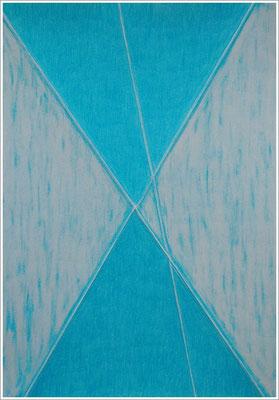 """21 cm x 29,7 cm - Türkisblau - Farbstift auf Papier - 2017/18 - ( """" DNA - Farben-Chakren """" )"""