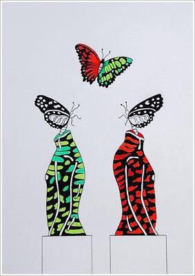 "21 cm x 29,7 cm - "" CRISPR/Cas - Schmetterlingsflügel "" - Farbstift, Bleistift auf Papier - 2018"