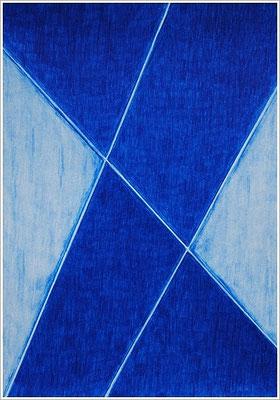 """21 cm x 29,7 cm - Helioblau-Rötlich - Farbstift auf Papier - 2017 - ( """" DNA - Farben-Chakren """" )"""