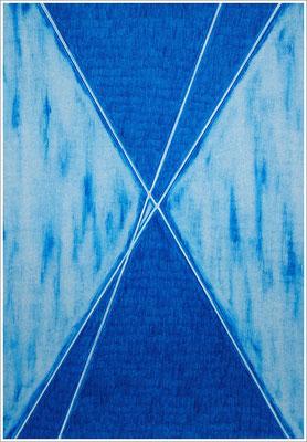 """21 cm x 29,7 cm - Türkis-Bläulich - Farbstift auf Papier - 2020 - ( """" DNA - Farben-Chakren """" )"""