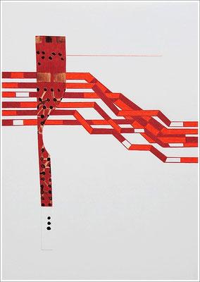 """Fragment – Collage - """" Blutbahnen """". 2020 - Farbstift, Blutstropfen auf Papier, 21 cm x 29,7 cm, """" Das Leben lesen - Für immer jung? - Placebo und Nocebo """""""