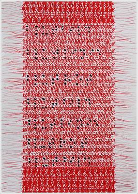 """Braille-Schrift = """" Blutbild, Blutlinie, Blutrot, Blutbild, Blutlinie, Blutrot, Blutbild """". 2017-2019 - Farbstift, Druckerfarbe ( Tintenstrahldruck AGCT – DNA-Basen ), Blutstropfen auf Papier, 21 cm x 29,7 cm, """" Das Leben lesen - Für immer jung?"""