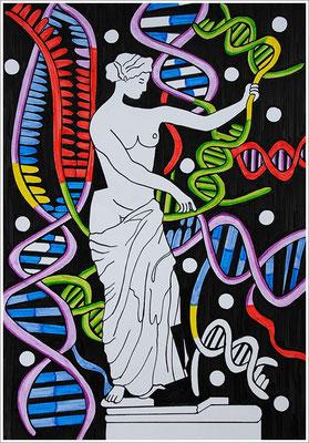 """21 cm x 29,7 cm - """" Crispr Cas 9-Genschere """" - Pigmenttusche-Stift auf Papier - 2017 - ( Detail - """" Venus / Aphrodite von Capua """" )"""