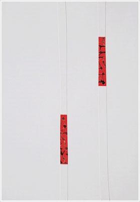 """Fragment - Collage, Braille-Schrift = """" Blutbild """". 2019 - Farbstift, Blutstropfen auf Papier, 21 cm x 29,7 cm, """" Das Leben lesen - Für immer jung? - Placebo und Nocebo """""""