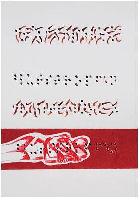 """Braille-Schrift = """" Blutstropfen """". 2017-2019 - Farbstift, Bleistift, Blutstropfen auf Papier, 21 cm x 29,7 cm, """" Das Leben lesen - Für immer jung? - Placebo und Nocebo """""""