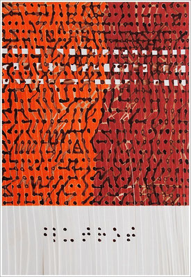 """Fragment – Collage - Braille-Schrift = """" Blutrot """" - Junges Blut - Altes Blut """".  2017-2019 - Farbstift, Blutstropfen auf Papier, 21 cm x 29,7 cm, """" Das Leben lesen - Für immer jung? - Placebo und Nocebo """""""