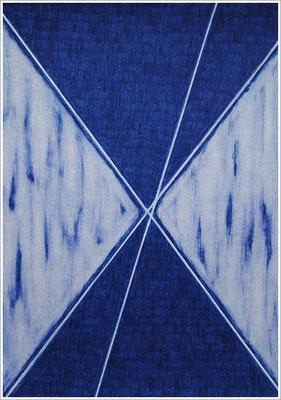 """21 cm x 29,7 cm - Indanthrenblau - Farbstift auf Papier - 2020 - ( """" DNA - Farben-Chakren """" )"""