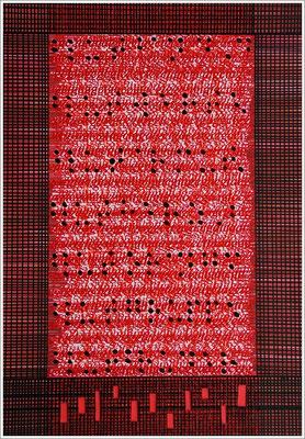 """Braille-Schrift = """" Blutband, Blutwerte, Blutarmut, Blutherz, Blutorange, Blutgruppe, Blutsbruder """". 2017-2019 - Farbstift, Druckerfarbe ( Tintenstrahldruck AGCT-DNA-Basen ), Pigmenttusche-Stift, Blutstropfen auf Papier, 21 cm x 29,7 cm,"""