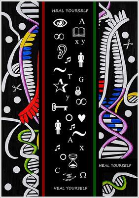 """40,8 cm x 57,8 cm - """" CRISPR/Cas - Genschere """" - Fotoabzug unter Acrylglas - 2018 - ( Zeichnung, Fotografie, digitale Bildbearbeitung )"""