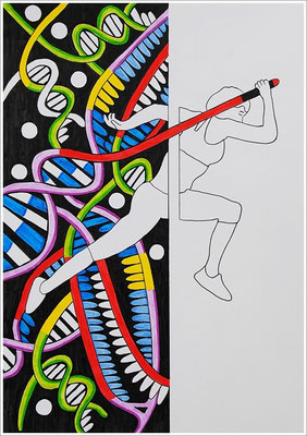 """21 cm x 29,7 cm - """" Crispr Cas 9-Genschere """" - Pigmenttusche-Stift auf Papier - 2017"""