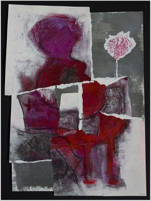 der rote Sessel (Acryl, Dispersion, Pastellkreide, Metallfarbe auf Papier, 265g/m², 30 x 40 cm)