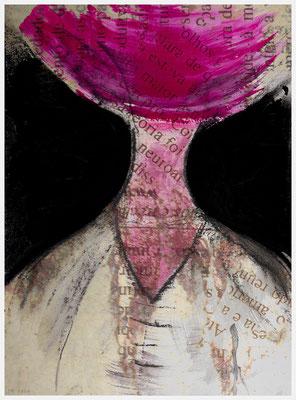 das Erröten der Doña Alba (mixed media/Basis: Acryl und Pastellkreide auf Papier, 265g/m², 30 x 40 cm)