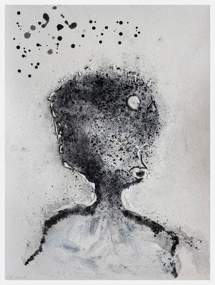 Wir sind alle Sternenstaub. (Kohlebrösel, Acryl, Dispersionsfarbe auf Papier, 265g/m², 30 x 40 cm)